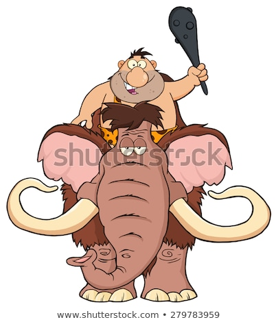 Happy Caveman Over Mammoth. Stock photo © hittoon