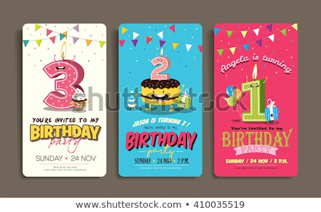 Davetiye kartpostal doğum günü partisi vektör kart dekore edilmiş Stok fotoğraf © pikepicture