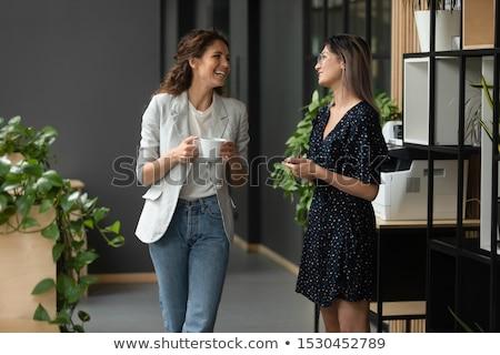 Kahve molası mutlu genç işkadını kupa Stok fotoğraf © pressmaster