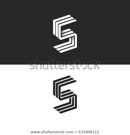 Stock photo: Black outline font Letter S 3D