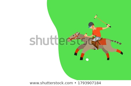 Man on Horse Holding Stick, Hitting Ball on Speed Stock photo © robuart