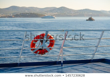 Foto d'archivio: Ferry Railing In Ibiza With Round Buoy