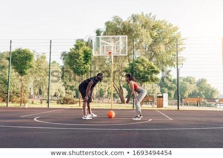 campo · da · basket · cielo · sfondo · palestra · blu - foto d'archivio © pressmaster