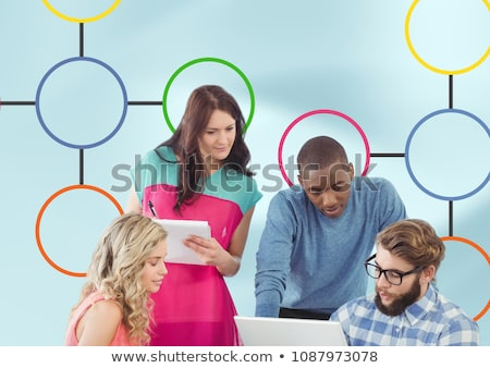 group meeting and colorful mind map over bright background stock photo © wavebreak_media