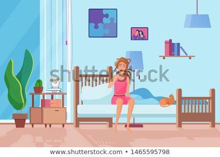 unhappy girl waking up Stock photo © Lopolo