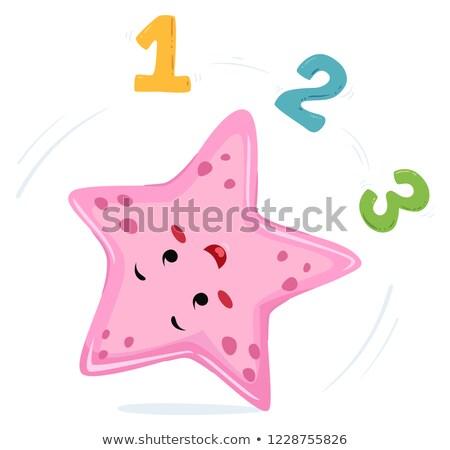 Starfish carrinho roda 123 ilustração números Foto stock © lenm
