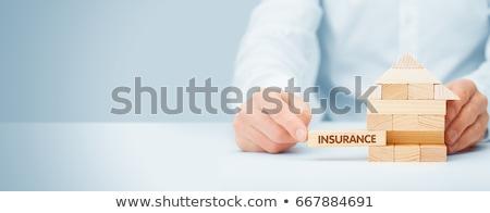 propriedade · seguro · ícones · casa · mãos · isolado - foto stock © -talex-