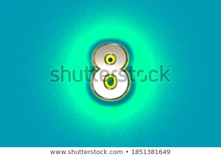 Yellow outlined font Number 8 EIGHT 3D Stock photo © djmilic