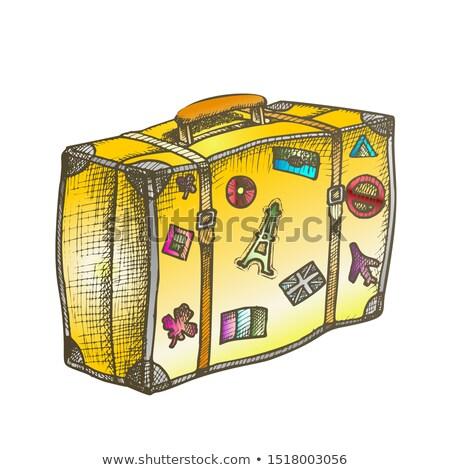 vintage · bagażu · biały · ilustracja · sztuki · lata - zdjęcia stock © pikepicture