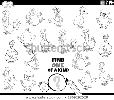 one of a kind game with farm animals coloring book stock photo © izakowski