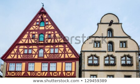 colorful cobbled street of historic town of rothenburg ob der ta stock photo © xbrchx
