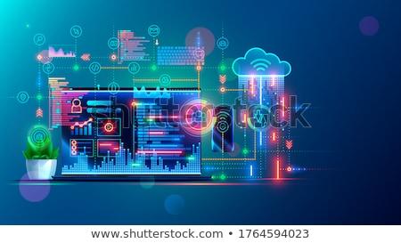 Wolk technologie website design computer internet wereldbol Stockfoto © Anna_leni