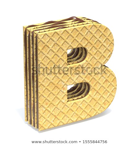 Waffles font with chocolate cream filling Letter B 3D Stock photo © djmilic