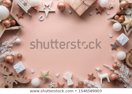 Christmas baubles on pink flatlay backdrop, luxury winter holida Stock photo © Anneleven
