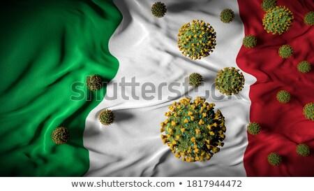 Coronavirus molecule on the background of Italian flag. Stock photo © artjazz