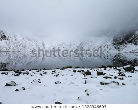 Frozen mountain lake covered with thin ice Stock photo © ElenaBatkova