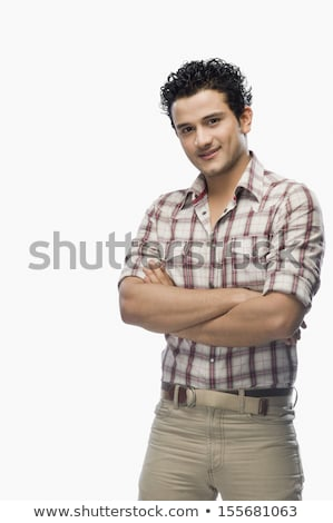 Man in checked shirt with his arms up Stock photo © Giulio_Fornasar