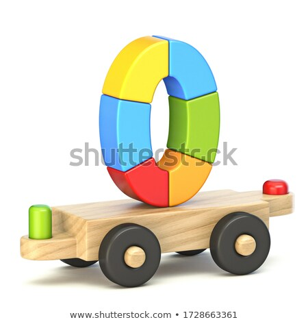 Wooden train Number 0 ZERO 3D Stock photo © djmilic
