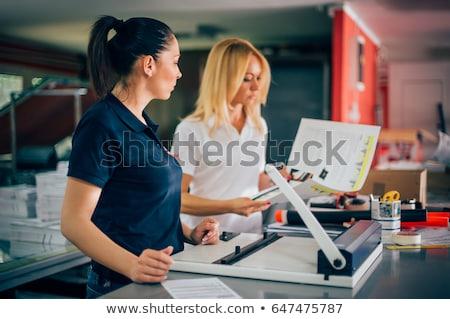 Grafisch ontwerp printer machine kleur dun lijn Stockfoto © yupiramos