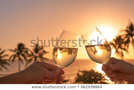 Couple in tropical vacation with drinks toasting on beach by the sea Stock photo © Kzenon