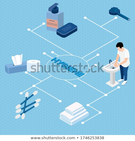 Hands Wipe Paper Napkin isometric icon vector illustration Stock photo © pikepicture