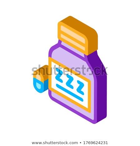 şişe uykusuzluk hapları izometrik ikon vektör Stok fotoğraf © pikepicture