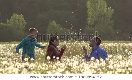 Parents with child sit in grass and blow on dandelion Stock photo © Paha_L