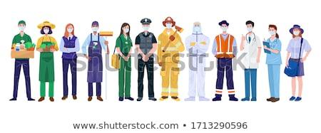 Trabajador cajas almacén ordenador mujer trabajo Foto stock © Hasenonkel