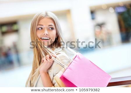 blond · vrouw · winkelen · gelukkig · naar · binnenkant - stockfoto © smithore