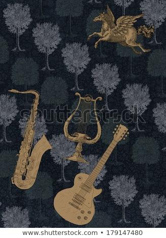 música · guitarra · arco-íris · ilustração · projeto · estrelas - foto stock © pathakdesigner