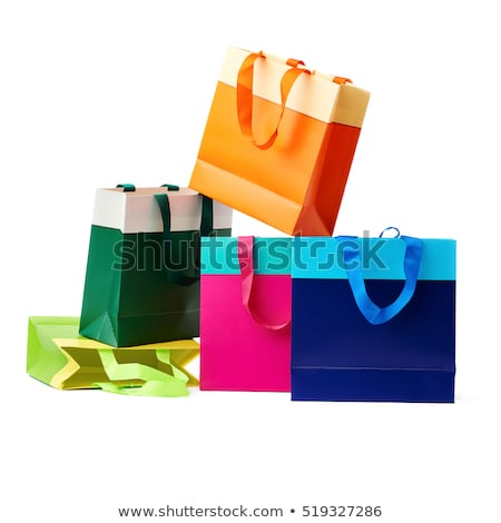 Azul bolsa de compras isolado branco listrado moda Foto stock © jaykayl