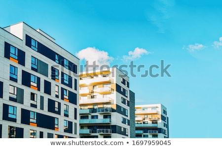 Részlet társasház ház építkezés ablak épületek Stock fotó © phbcz