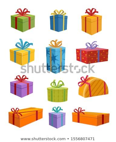 Szett ajándék doboz meglepetés léggömbök izolált fehér Stock fotó © adamson