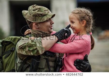 lány · katonai · egyenruha · izolált · fehér · nő · divat - stock fotó © zybr78