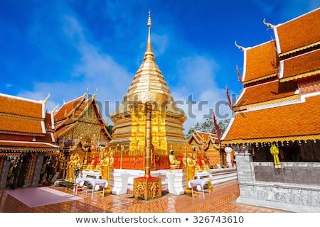 Oro pagoda templo Tailandia cielo azul Foto stock © nuttakit