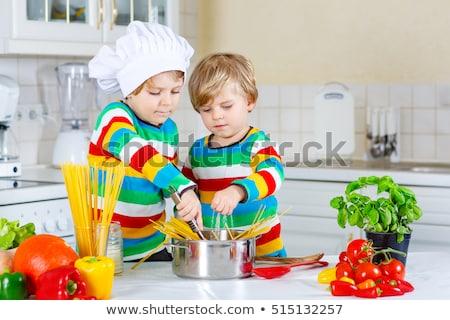 Moda funny kuchnia makaronu niebieski Zdjęcia stock © lunamarina