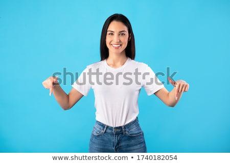 женщину · указывая · пальца · фотография · привлекательный - Сток-фото © dolgachov
