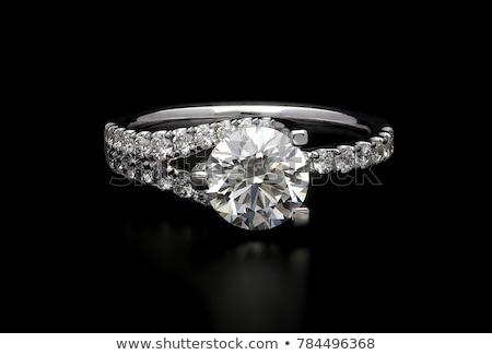 Gyémántgyűrű pillangó divat fém kék arany Stock fotó © njaj