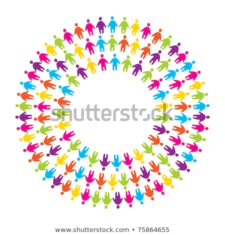 Kleurrijk mensen cirkel vector hand Stockfoto © beaubelle