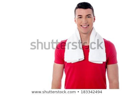 肖像 · 笑みを浮かべて · 筋肉の · 男 · タオル - ストックフォト © stockyimages