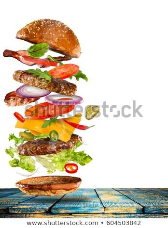 Groot smakelijk cheeseburger geïsoleerd vlees vet Stockfoto © ozaiachin