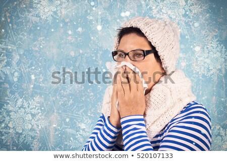 mulher · frio · assoar · o · nariz · sessão · café · chuvoso - foto stock © photography33