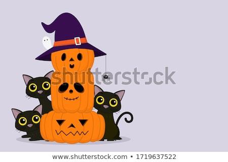 Halloween tebrik kartı turuncu web kale örümcek Stok fotoğraf © Kaludov