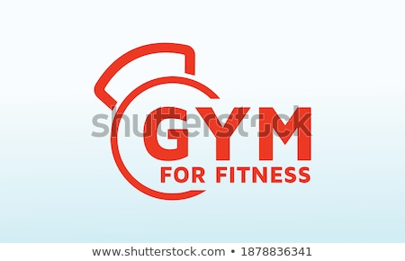 Young woman with a dumbbell and an internet @ sign Stock photo © photography33