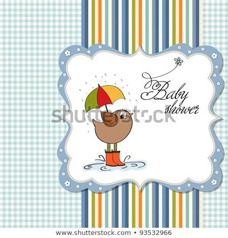 Stock fotó: Baba · fiú · zuhany · kártya · kicsi · madár