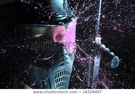 Paintball femme isolé blanche fusil objectif Photo stock © grafvision