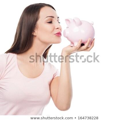 bela · mulher · beijando · piggy · bank · belo · morena · mulher - foto stock © Rob_Stark