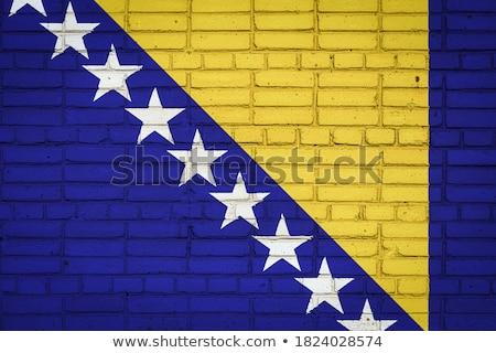 Flag of Bosnia and Herzegovina on brick wall Stock photo © creisinger