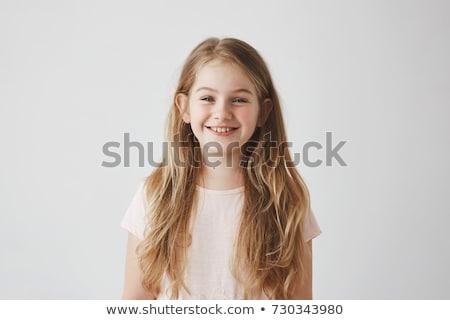 Kék fiatal lány portré fekete blúz lány Stock fotó © Photoline