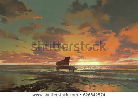 Piano céu abstrato teclado fundo quadro Foto stock © mariephoto